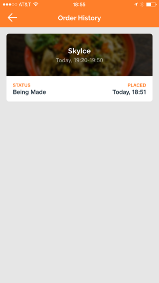 Caviar iPhone food, delivery, order history screenshot