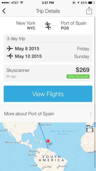 Hitlist iPhone travel, booking, detail views, maps screenshot