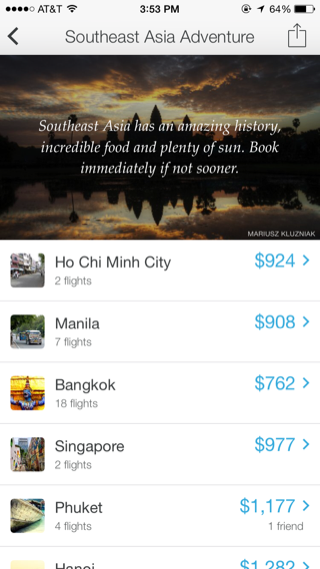 Hitlist iPhone travel, booking, lists screenshot