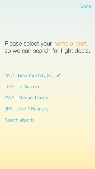 Hitlist iPhone travel, booking, onboarding screenshot