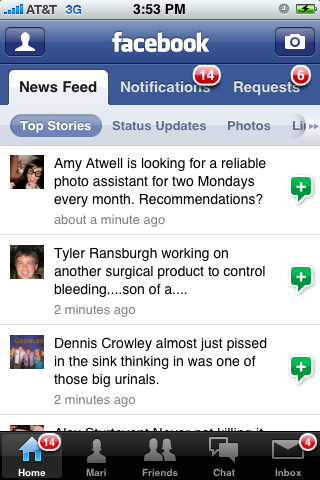 Facebook iPhone feeds, home screenshot