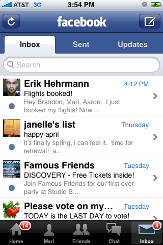 Facebook iPhone lists screenshot