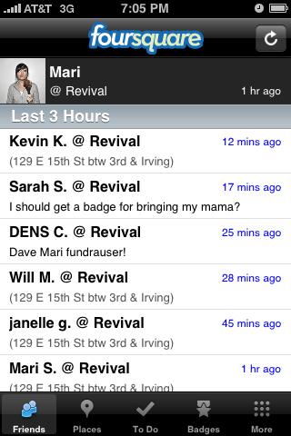 Foursquare iPhone feeds, lists, home screenshot