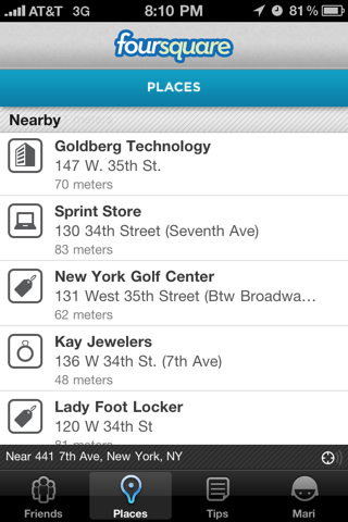Foursquare iPhone lists, places screenshot