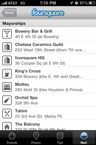 Foursquare iPhone lists screenshot