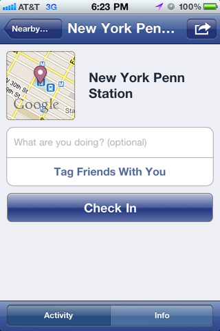 Facebook iPhone detail views, venue detail screenshot