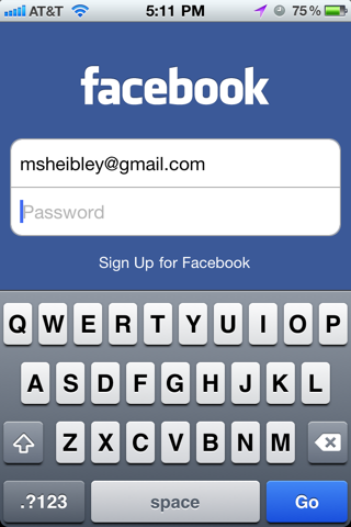 Facebook iPhone login flows screenshot
