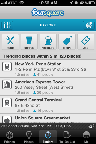 Foursquare iPhone lists, explore screenshot
