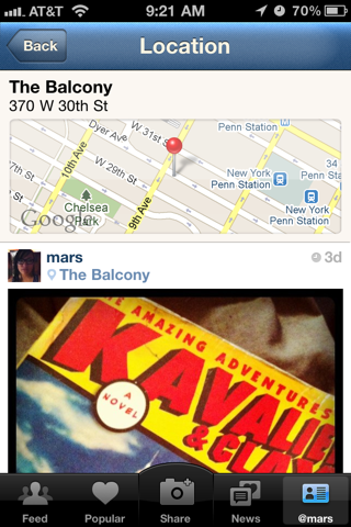 Instagram iPhone detail views, maps screenshot