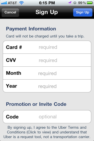Uber iPhone sign up flows, sign in screenshot