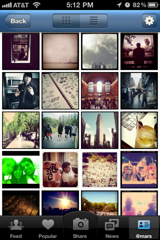 Instagram iPhone user profiles screenshot