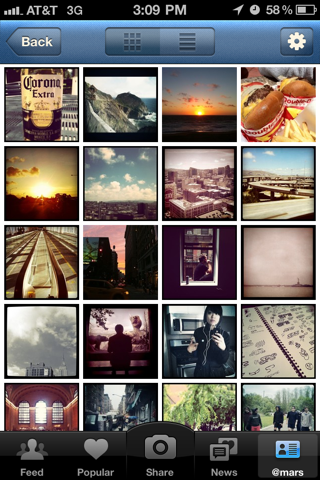 Instagram iPhone photo, photo gallery screenshot
