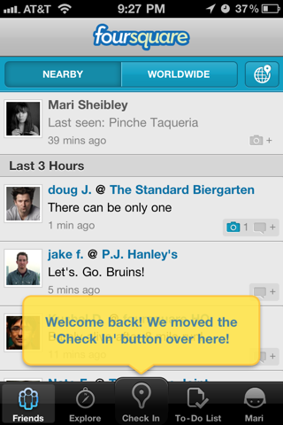 Foursquare iPhone popovers, coach marks screenshot