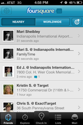 Foursquare iPhone home, feeds, lists screenshot