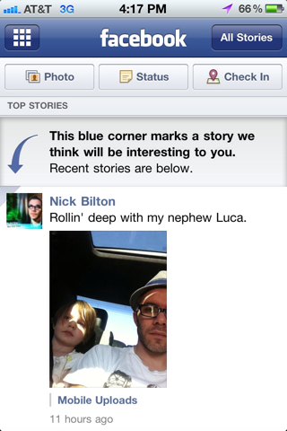 Facebook iPhone feeds screenshot