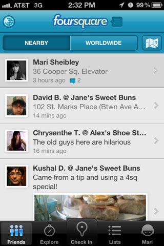 Foursquare iPhone feeds, lists, home screenshot