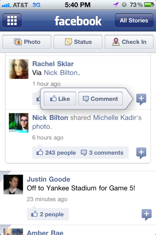Facebook iPhone popovers screenshot