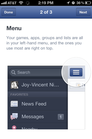 Facebook iPhone onboarding screenshot