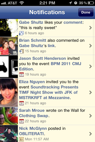 Facebook iPhone notifications screenshot