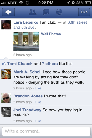 Facebook iPhone detail views screenshot