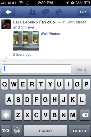Facebook iPhone comment compose screenshot