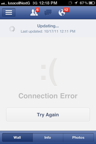 Facebook iPhone empty data sets, loading views screenshot