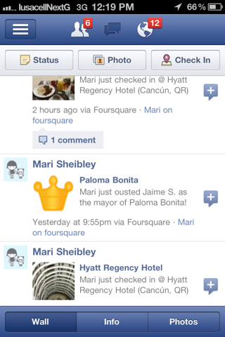 Facebook iPhone user profiles screenshot