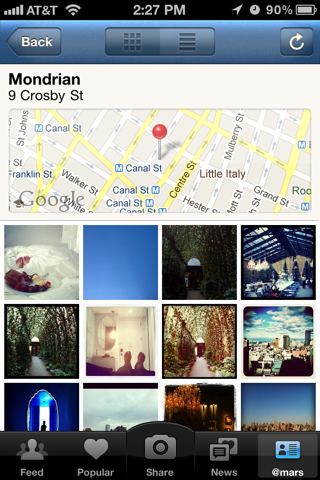 Instagram iPhone maps, photo gallery screenshot