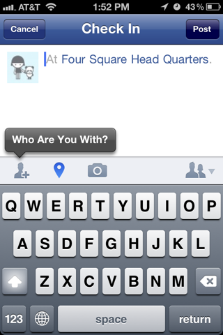 Facebook iPhone popovers, compose screens screenshot