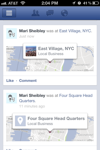Facebook iPhone feeds, maps screenshot
