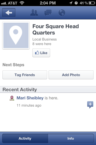 Facebook iPhone venue detail screenshot