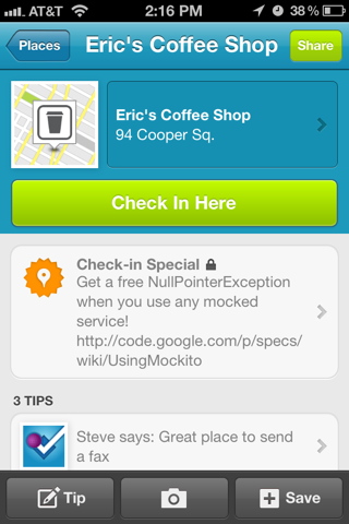 Foursquare iPhone venue detail, detail views screenshot