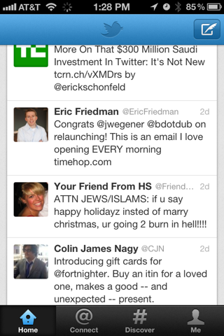 Twitter iPhone feeds, lists screenshot