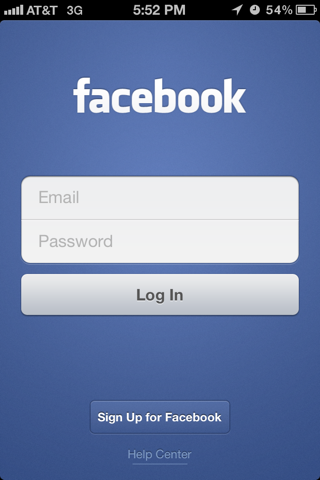 Facebook Camera iPhone login flows screenshot
