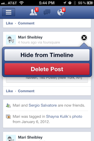 Facebook iPhone popovers, notifications screenshot