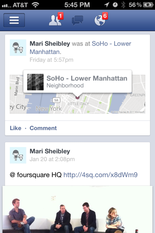 Facebook iPhone feeds, notifications screenshot