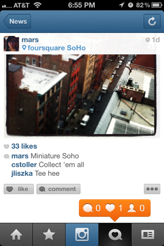 Instagram iPhone notifications, popovers screenshot