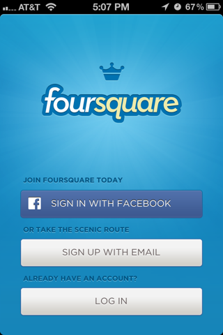 Foursquare iPhone sign up flows, login flows screenshot