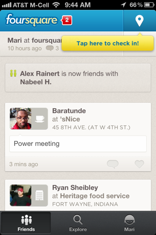 Foursquare iPhone coach marks, popovers screenshot