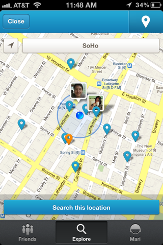 Foursquare iPhone maps, explore screenshot