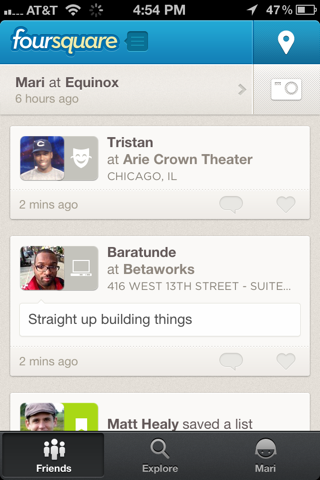 Foursquare iPhone lists, home, feeds screenshot
