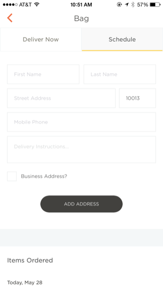 Munchery iPhone detail views, checkout screenshot