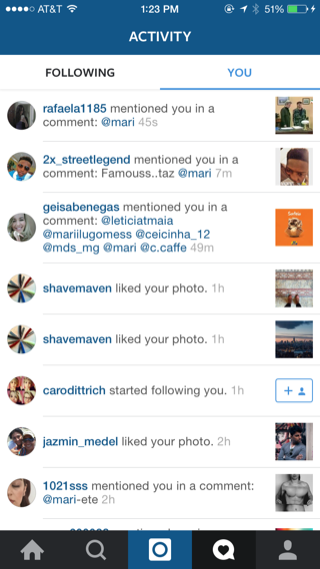 Instagram iPhone lists, notifications screenshot