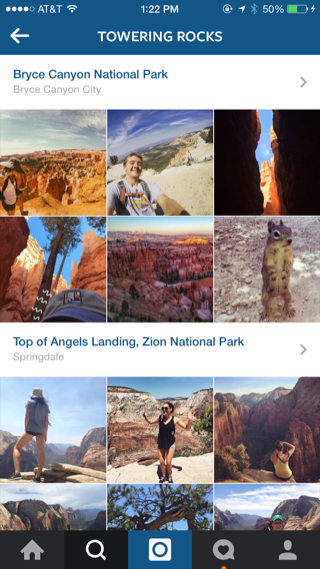 Instagram iPhone photo gallery, explore, detail views screenshot