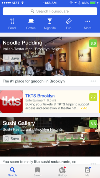 Foursquare iPhone home, search, feeds screenshot