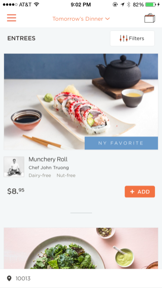 Munchery iPhone feeds screenshot